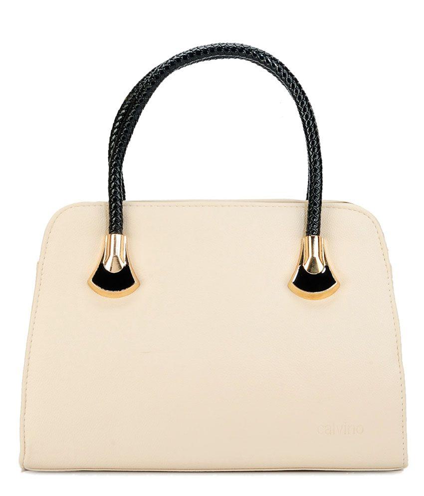 Calvino Calvino CL_1126_Cream White Satchel Bags No