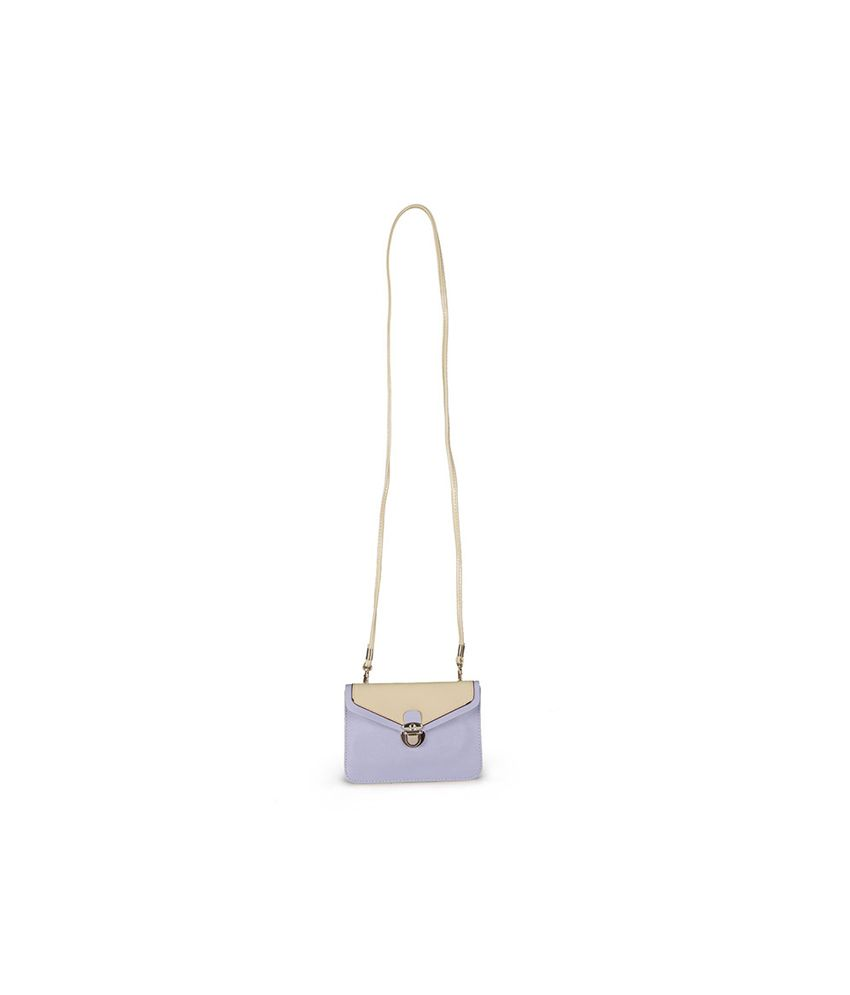 Carry On Handbags Lavender Slingbag With A Beige Flap