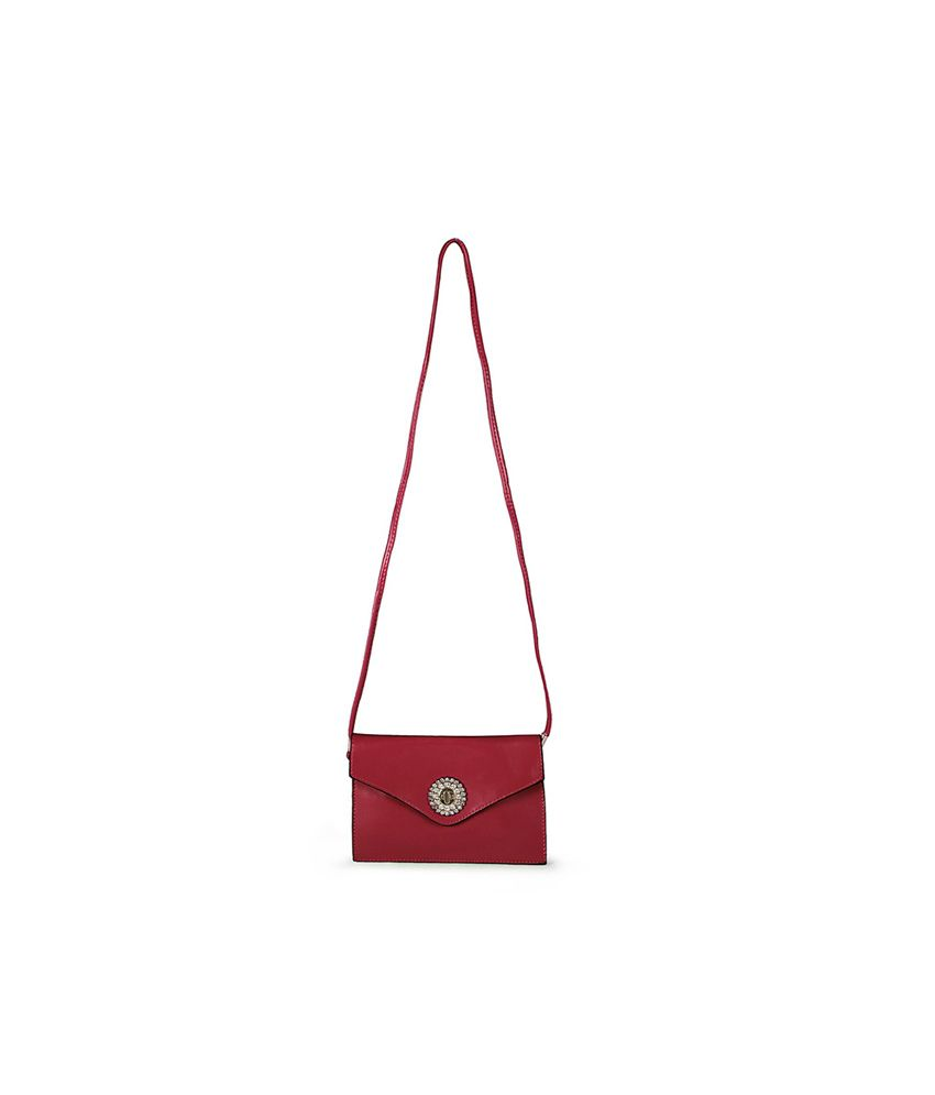 Carry On Handbags Red Slingbag With A Golden Flower Clasp