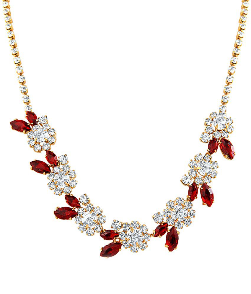 Oviya Gold Plated Red Statement Crystal Necklace