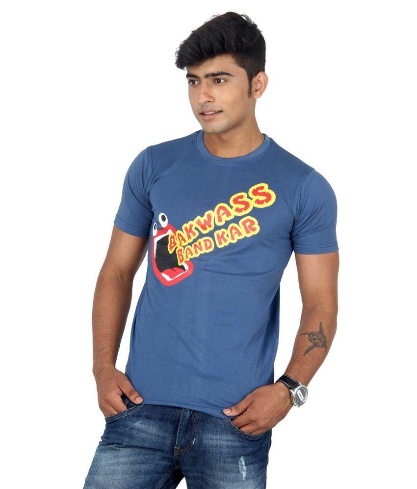 TeesTadka Blue Round Neck Printed Cotton Half Slevees T -Shirt