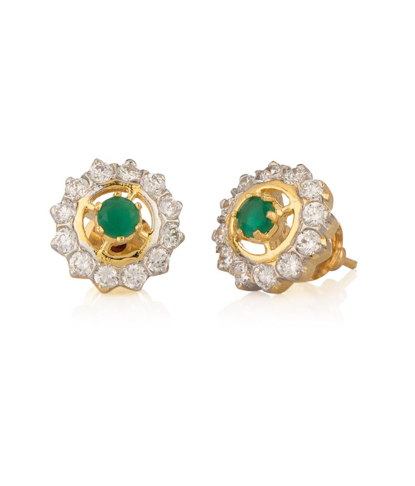 Voylla Cz Studs With Green Stone, Gold Plating