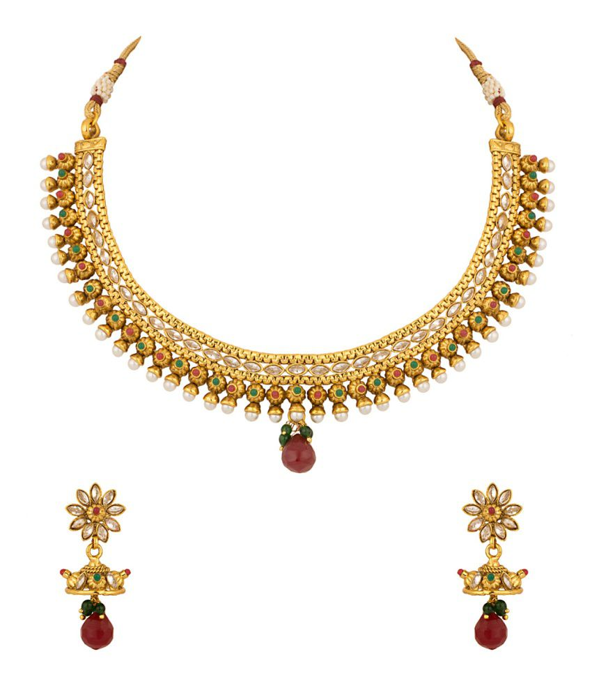 Voylla Necklace Set Dazzled With Cz And Pearls