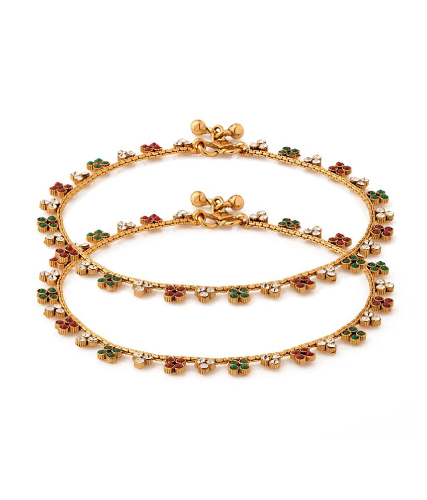 Voylla Pair Of Anklets With Floral Motif Encrusted Faux Stones