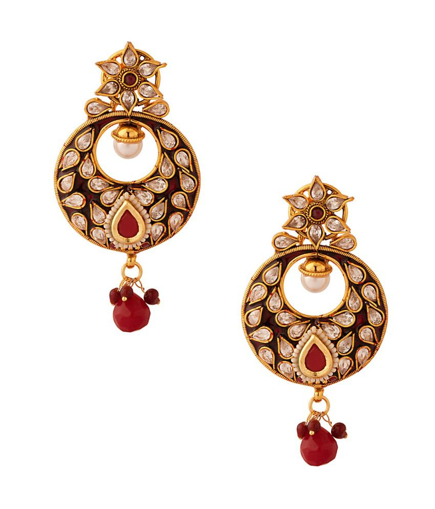 Voylla Pair Of Festive Dangler Earrings With Red Enamel And Stone