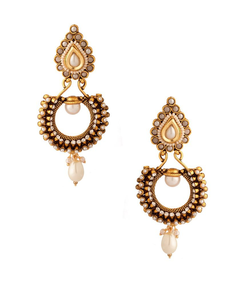 Voylla Pair Of Festive Dangler Earrings With Pearls And Cz