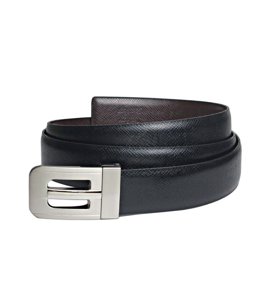 Abhinavs Black & Brown Reversible Leather Belt For Men