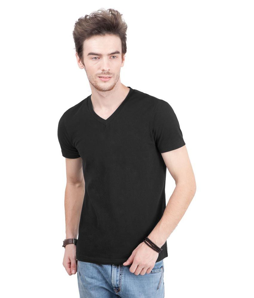 Freecultr Black Half Sleeves Cotton Blend V-neck T-shirt