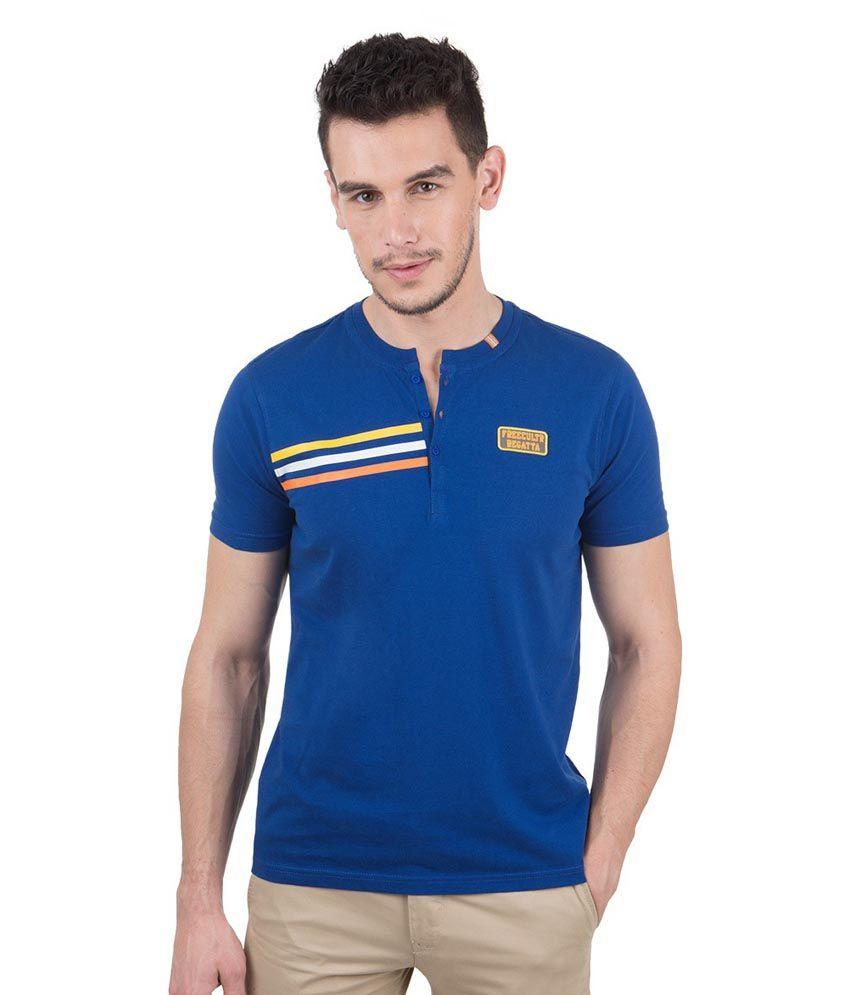 Freecultr Navy Blue Half Sleeves Cotton Henley Neck T-shirt