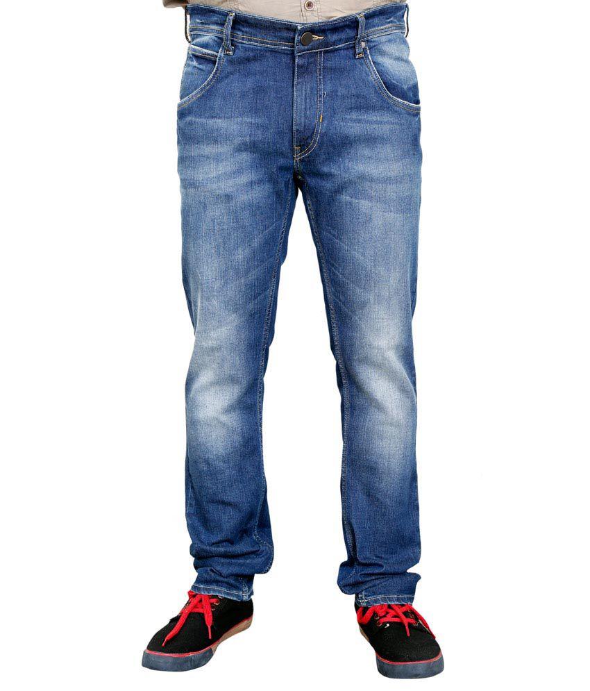 Llak Blue Cotton Blend Skinny Skinny Men's Jeans
