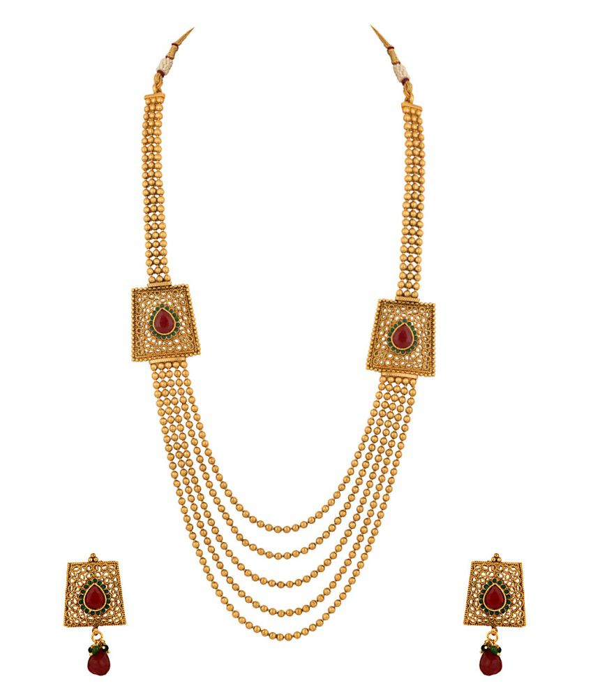 Voylla Lustrous Princess Necklace Set Decorated With Maroon And Green Color Stones
