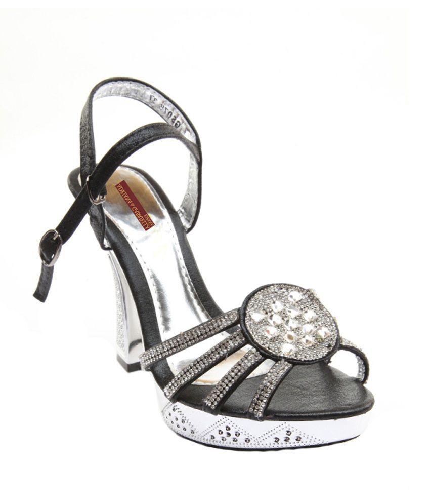 Adriana & Gabriella Black Trims & Studs Daily Wear High Heel Sandal