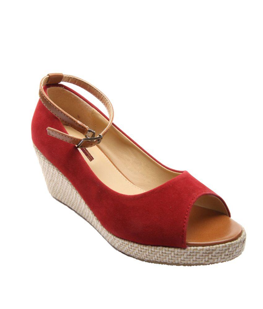 Adriana & Gabriella Red Pump Daily Wear High Heel Sandal