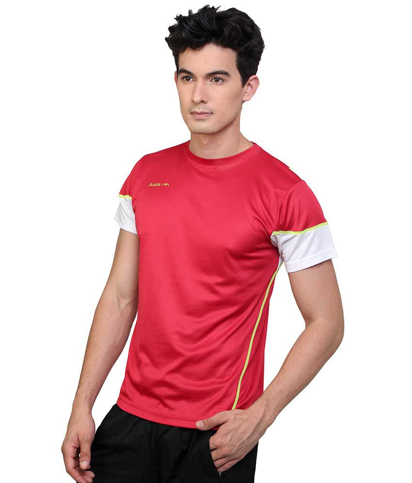 Dida  Red Polyester Round Neck Half Sleeves T-shirt