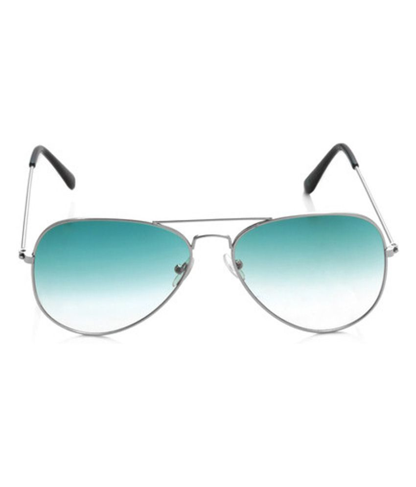 green aviator sunglasses  Glaze I-wear Stylish White Green With Silver Frame Aviator ...