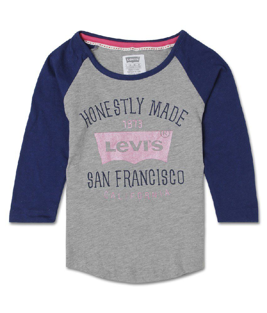 Levis Kids Full Sleeves Gray Color T Shirt For Kids Buy Levis Kids