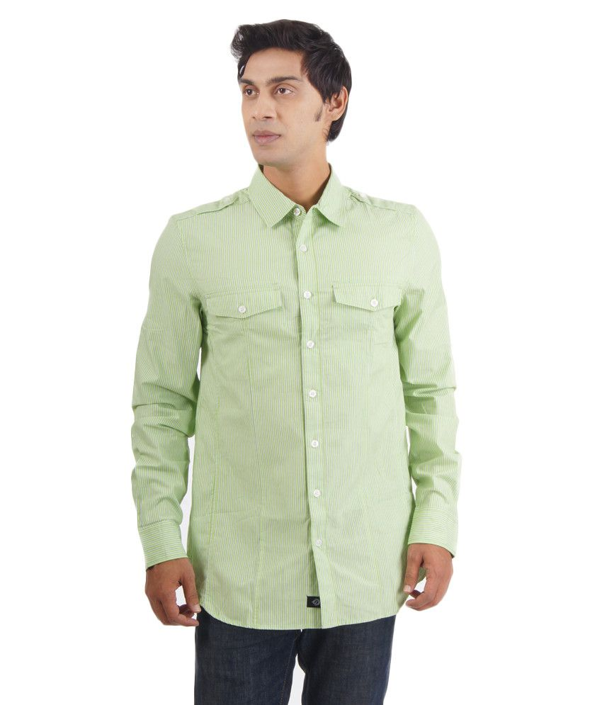 Puma Green Cotton Full Sleeves Casual Shirt