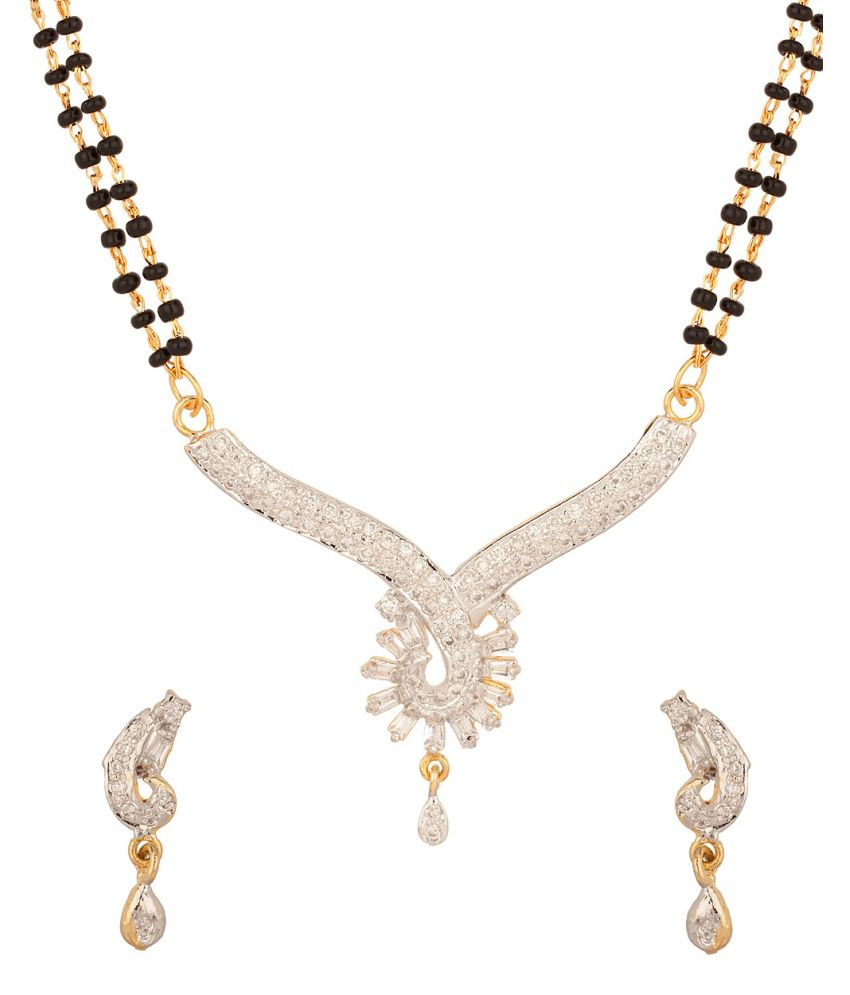 Voylla Double Chain Mangalsutra Set With Sparkling Rays Design, Gold Plating