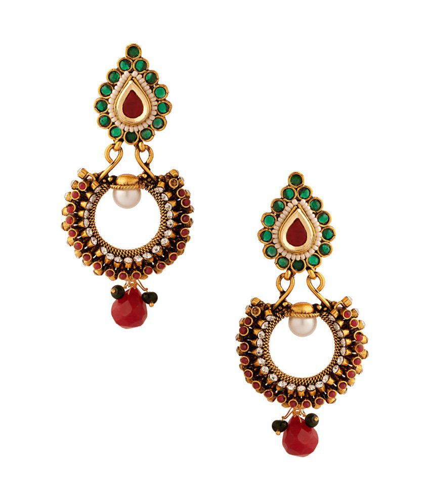 Voylla Pair Of Festive Dangler Earrings With White Green And Red Colored Stones