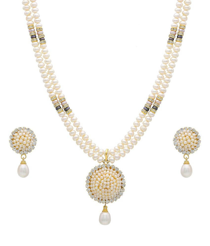 bedc4d4f75e Hyderabad Jewels Natural Pearls Necklace Set - Buy Hyderabad Jewels Natural  Pearls Necklace Set Online at Best Prices in India on Snapdeal