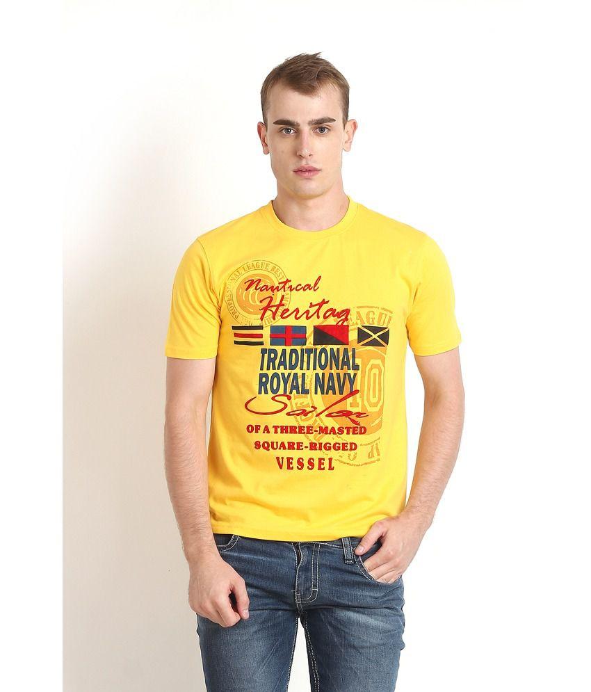 Teen Tees Yellow Cotton Round Neck Printed T-shirt