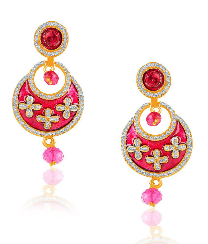 Vk Jewels Gorgeous Pink Earring Set