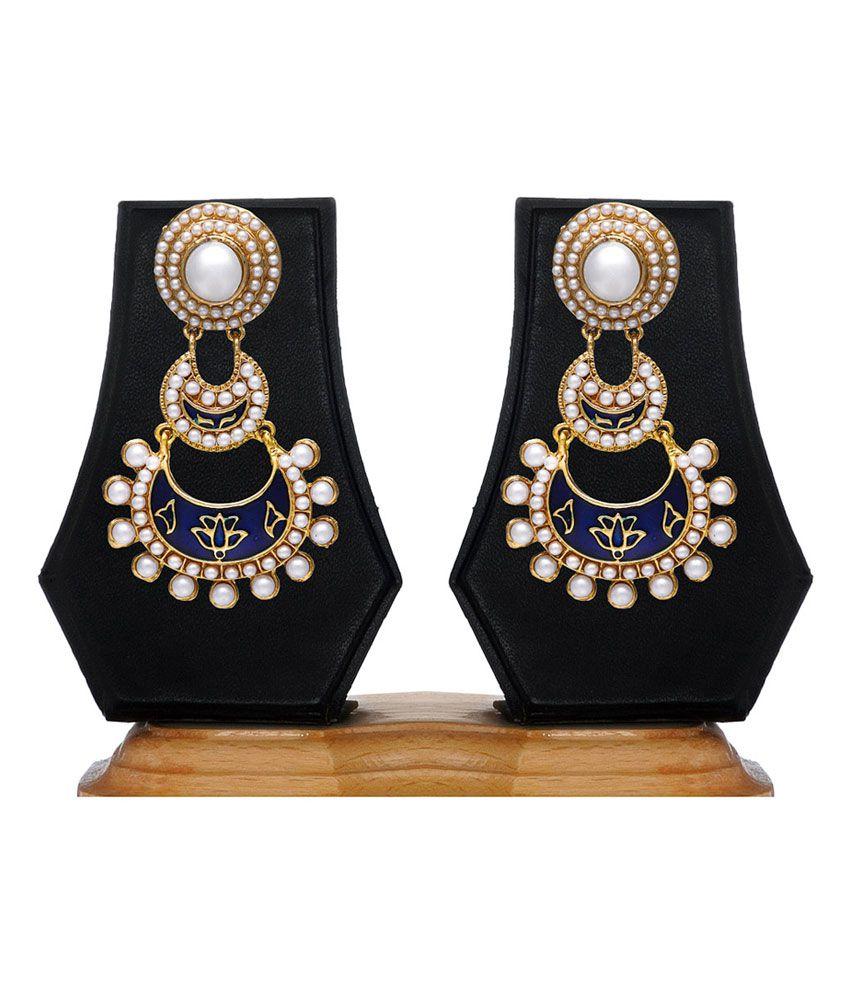 Zaveri Pearls Blue Style Diva Drops Designer Earring