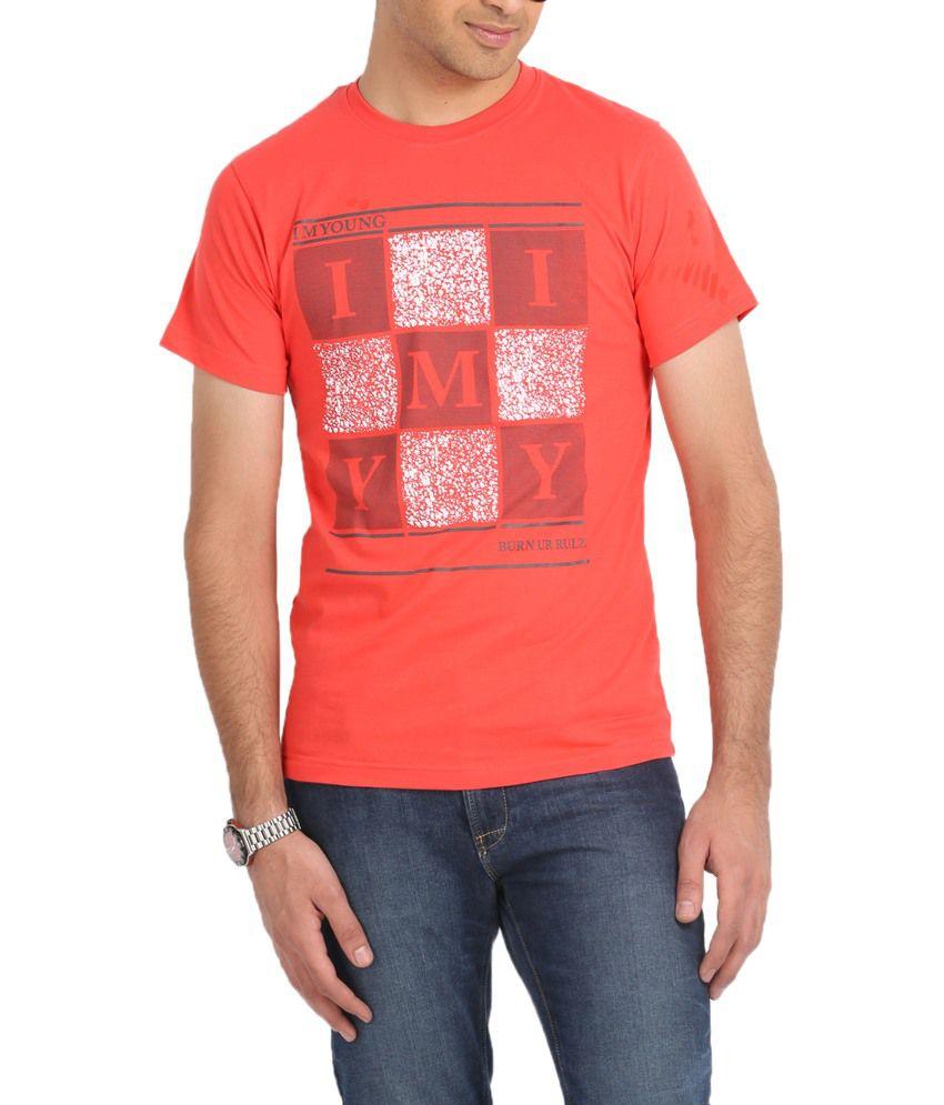 I M Young Peachpuff Half Cotton V-neck T-shirt