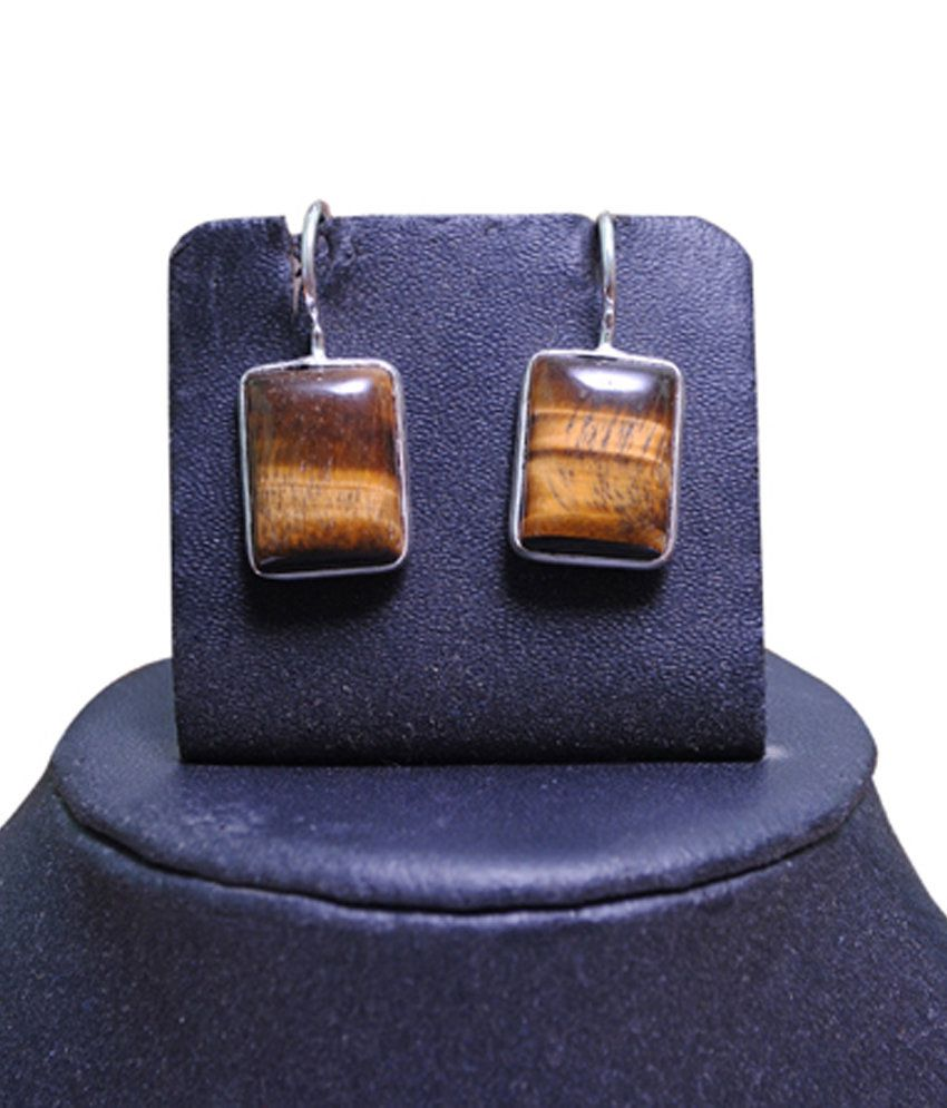 Indus Brown Style Diva Tiger Eye Silver Earring