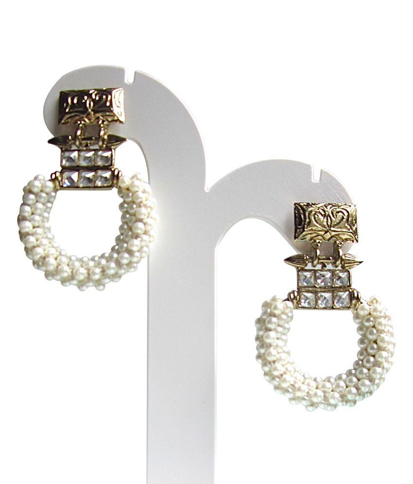 Shillpa Purii White Style Diva Pearl Hanging Earrings