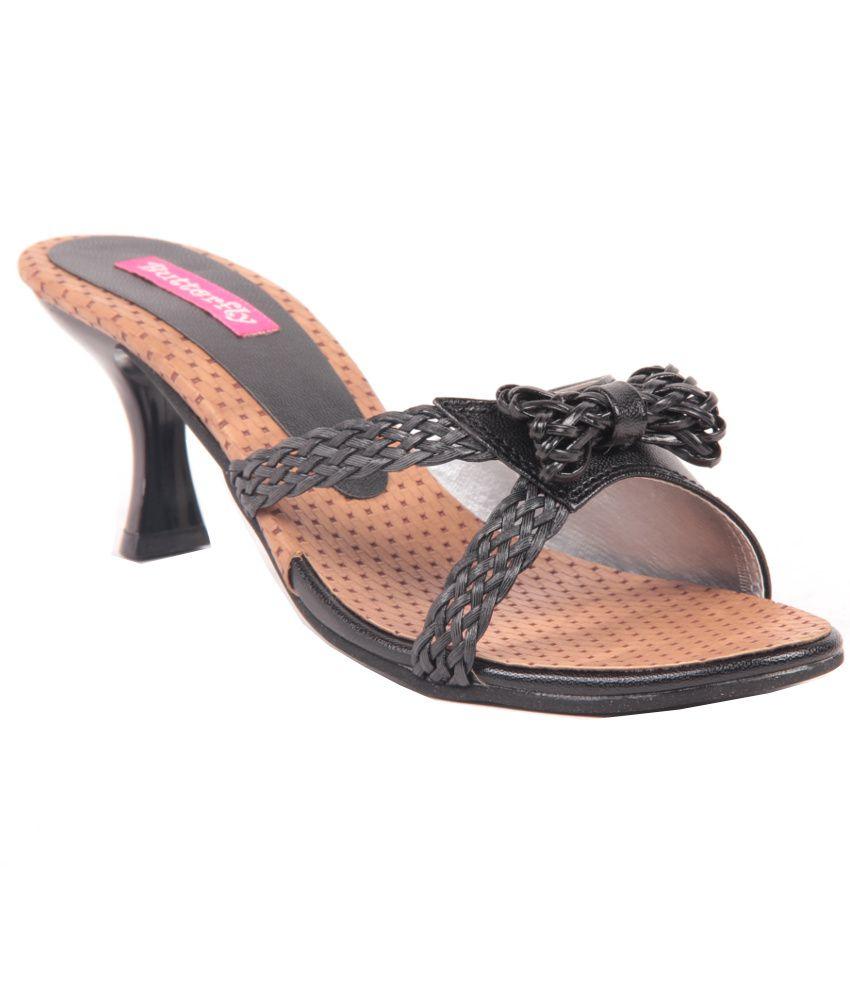 Butterfly Black Kitten Heeled Slip-On