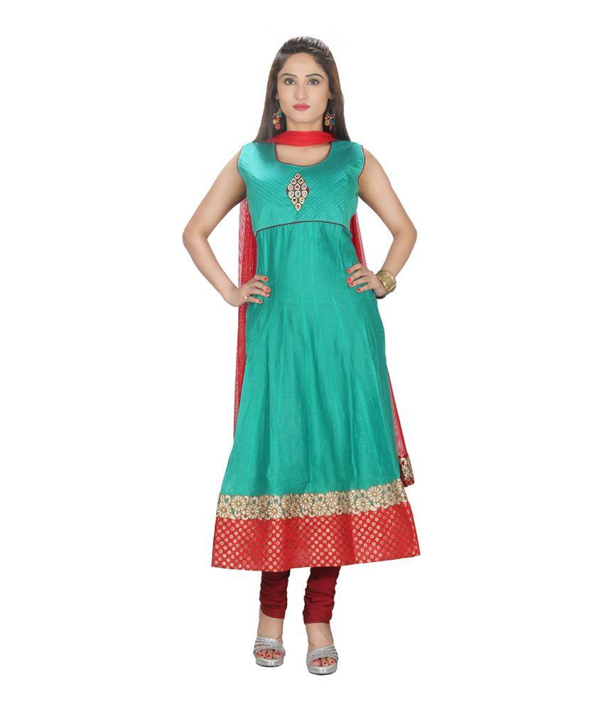 Sanskruti Creations Turquoise Embroidered Chanderi Stitched Anarkali Salwar Suit