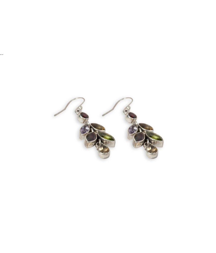 Silverwala 92.5 Sterling Silver Contemporary Drop Earings