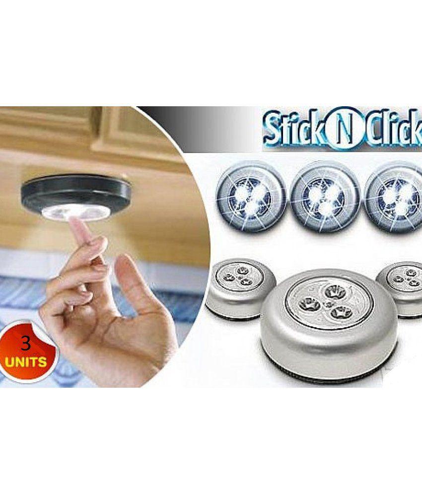 Stick N Click Set Of 3 Led Bright Lights Silver Buy Stick
