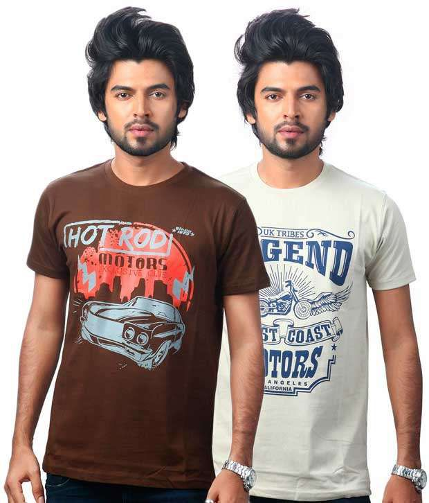 Uk Tribes Brown And Ivory Cotton Half Printed T-shirt - Pack Of 2