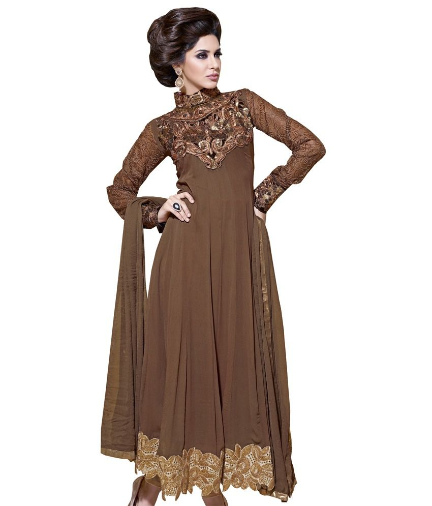 aefbd1596664 Adorable Coffee Color Anarkali Dress Material - Buy Adorable Coffee Color  Anarkali Dress Material Online at Best Prices in India on Snapdeal