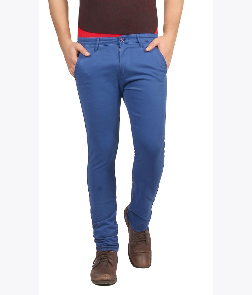 Fn Jeans Stylish Blue Slim Fit Low Rise Chinos For Men | Fnj9143