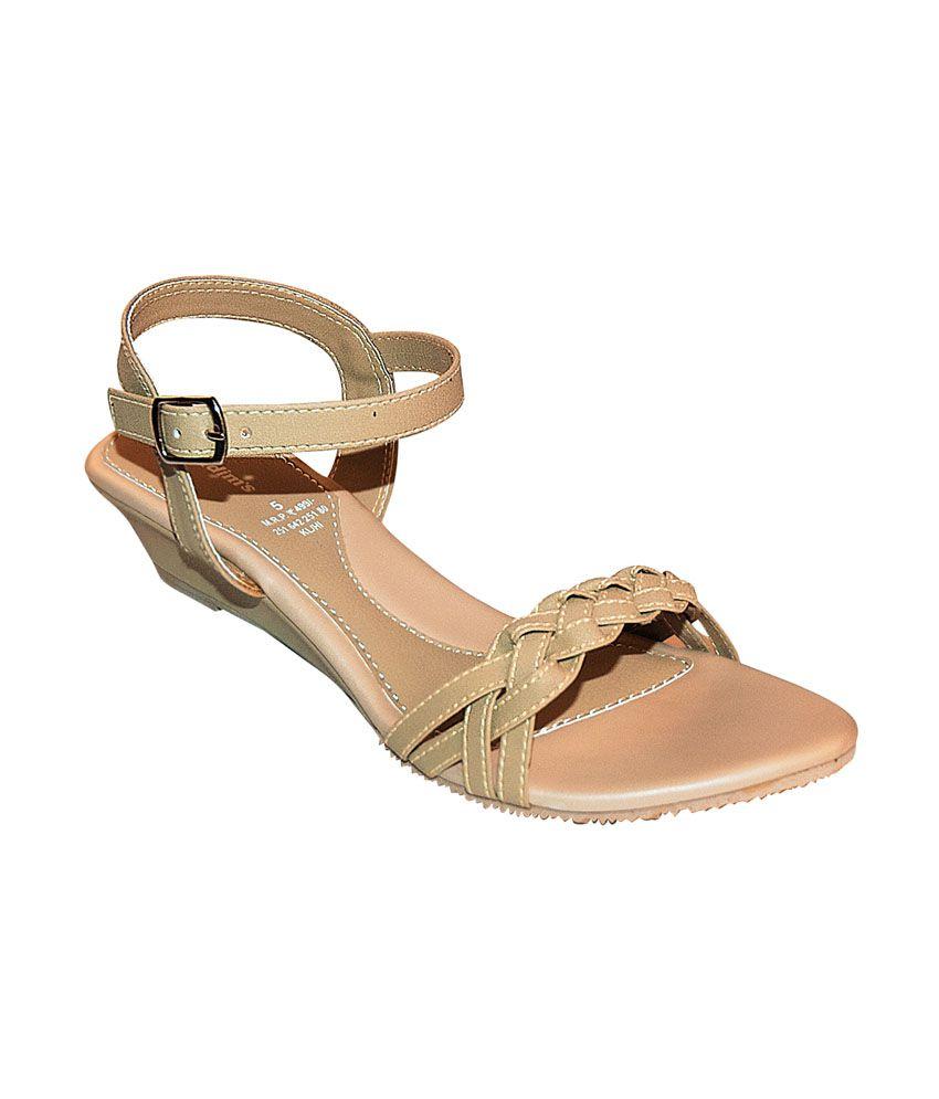 Khadim's Beige Strap-on Low Wedge Sandals