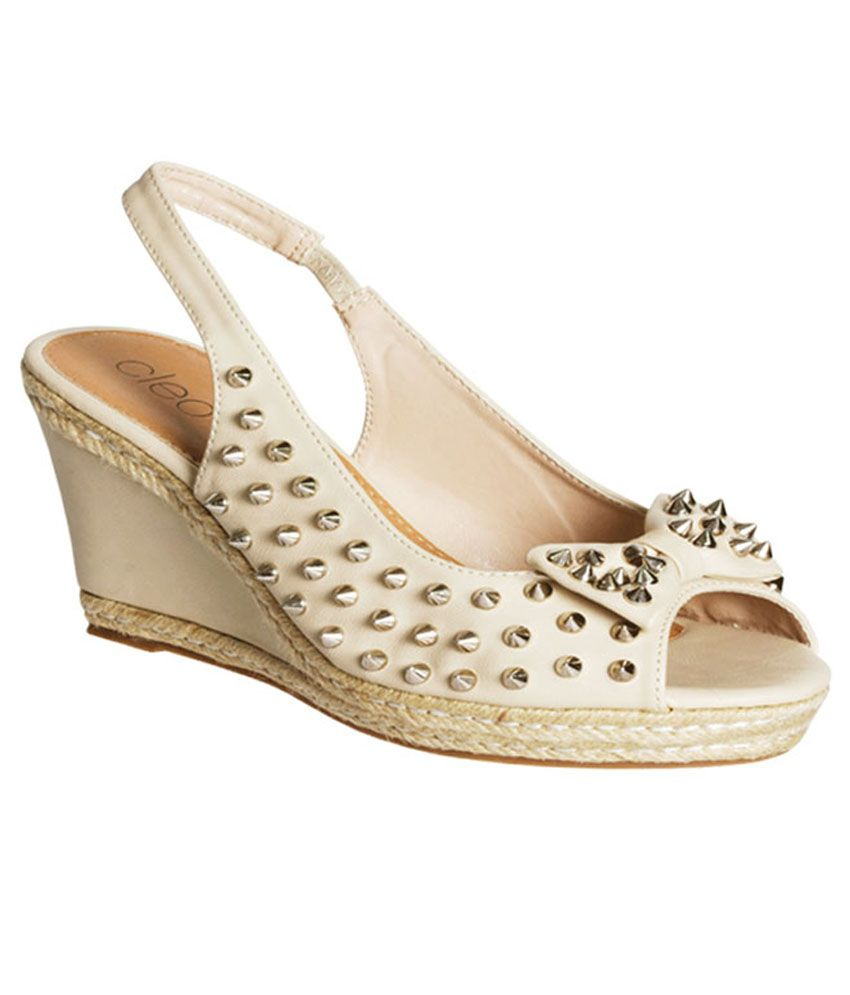 dd3f52859258 Khadim s Cleo White Sling-back Peep-toe Wedge Studs Price in India- Buy  Khadim s Cleo White Sling-back Peep-toe Wedge Studs Online at Snapdeal