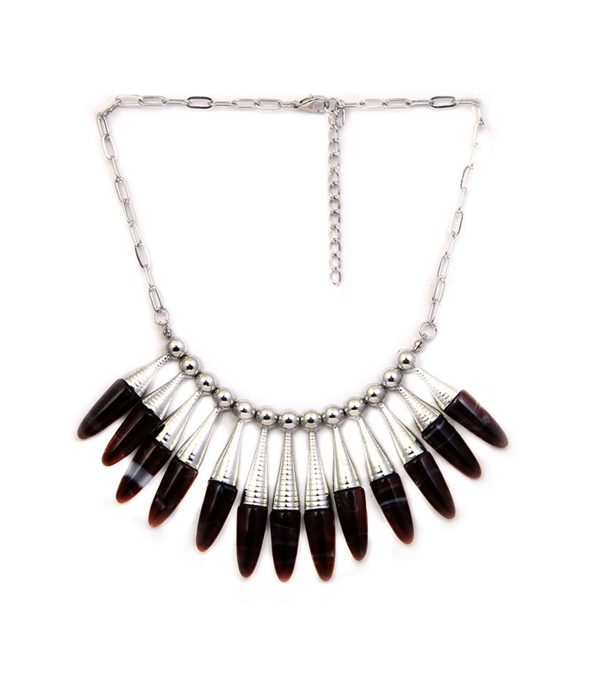 Made For Her Brown Hard Plastic Necklace