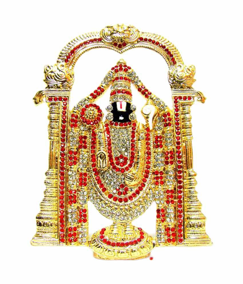 Nirus Golden Amp Red Brass Studded 10cm Lord Balaji Idol