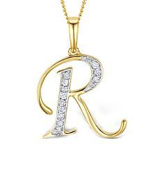Gold Pendant With Joined Alphabet Design Na