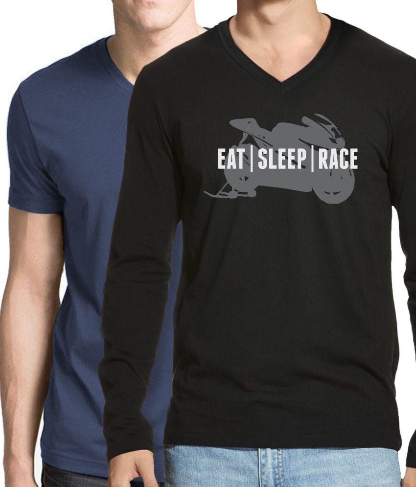 Hueman Black Full Cotton Printed V-neck T - Shirt