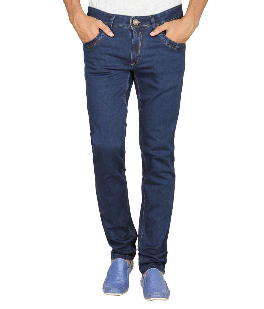 Leonidas Slim Fit Blue Cotton Jeans