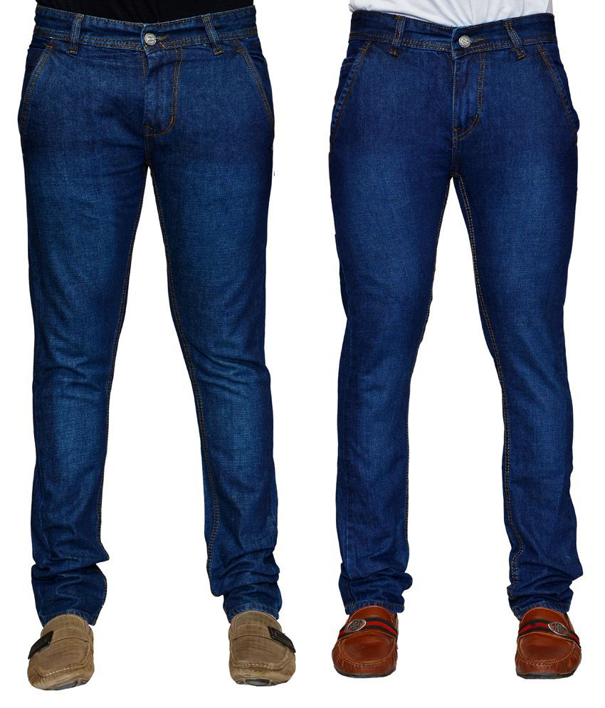 Denim Cafe Men's Jeans Combo Of 2 With Free 1 Pair Of Assorted Socks