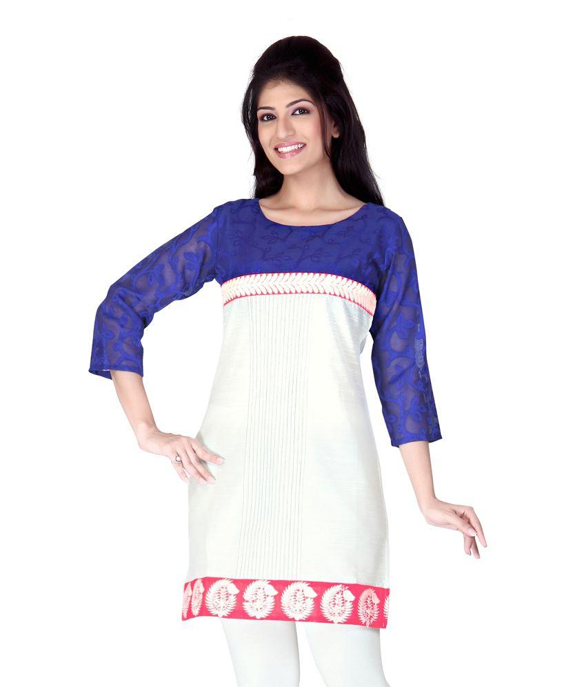 Lifestyle Lifestyle Retail White Solids Silk 3\/4Th Sleeves Medium Kurti