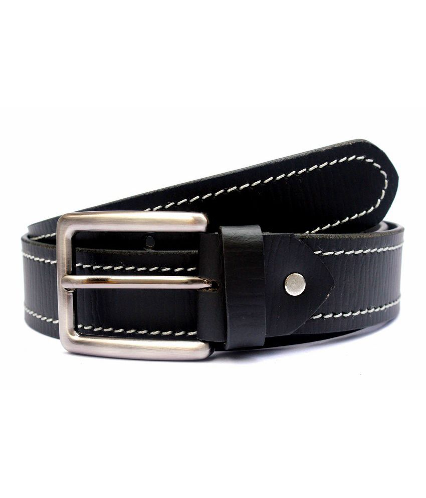 Tops Black Coloured Side Stitched Leather Belt