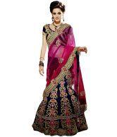 Jugniji Multicolour Embroidered Velvet Unstitched Lehenga Choli