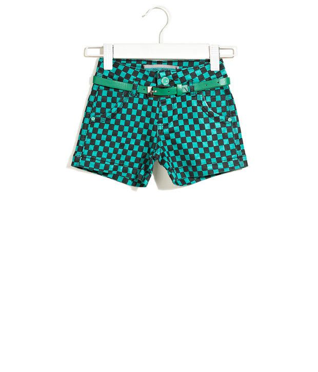 Deal Jeans Kids Teal Casual Staple Checkered Shorts