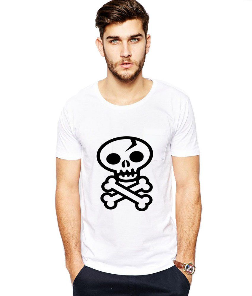 Ilyk Danger Skull Men White Printed T-shirt